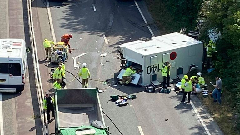 The prison van overturned in the collision. Pic: Melanie Beck