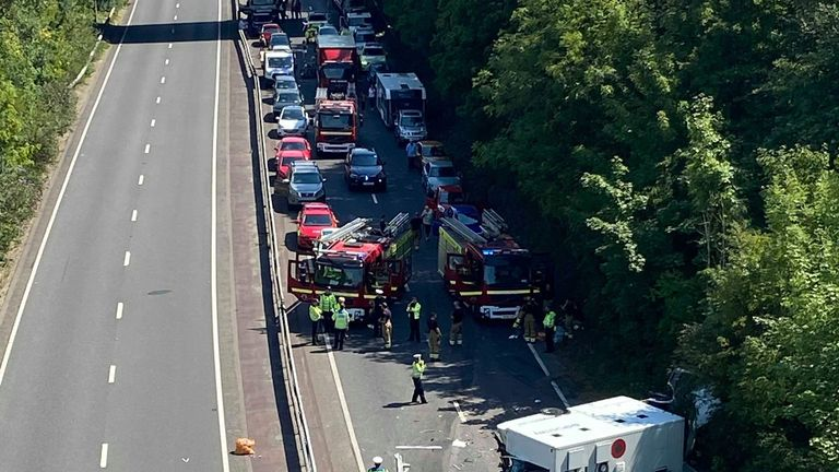 There were tailbacks at the scene of the crash. Pic: Melanie Beck