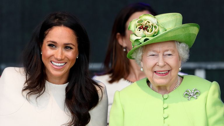 Meghan, Duchess of Sussex and Queen Elizabeth II attend a ceremony to open the new Mersey Gateway Bridge on June 14, 2018 in Widnes, England
