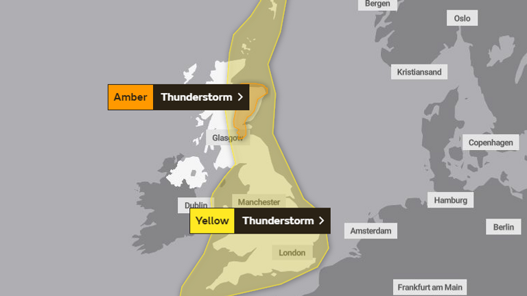Weather warnings are in place for most of the UK. Pic: Met Office