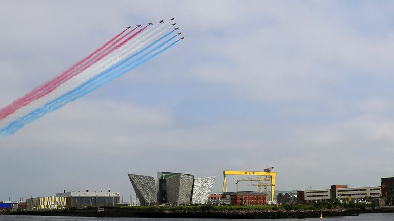 The Red Arrow fly over Belfast on the 75th anniversary of VJ Day