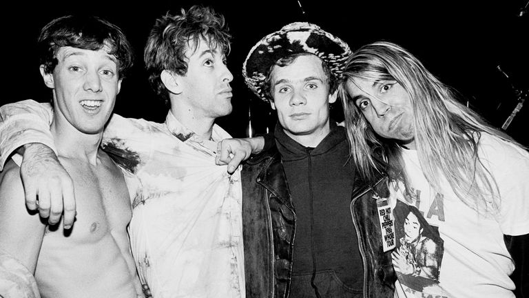 The Red Hot Chili Peppers in December 1986 in New York: (L-R) Jack Irons, Hillel Slovak , Flea and Anthony Kiedis