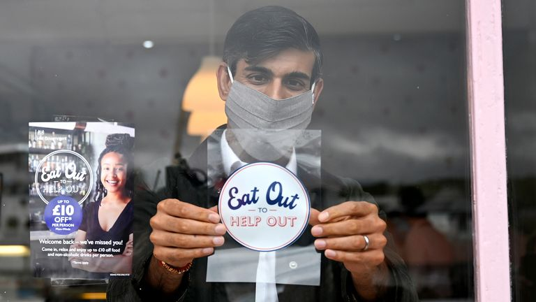 Chancellor of the Exchequer Rishi Sunak places an Eat Out to Help Out