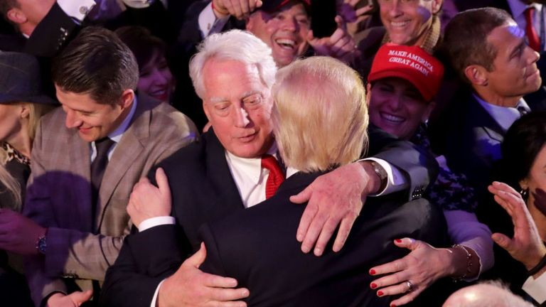 Robert Trump (L), pictured hugging Donald in 2016, has been admitted to hospital