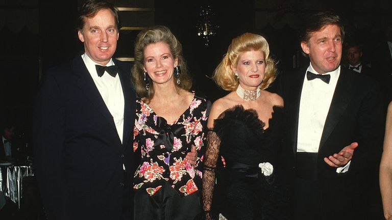 Robert Trump (L) with his ex-wife, Blaine Trump, with Ivana Trump and Donald Trump (R) when they were younger