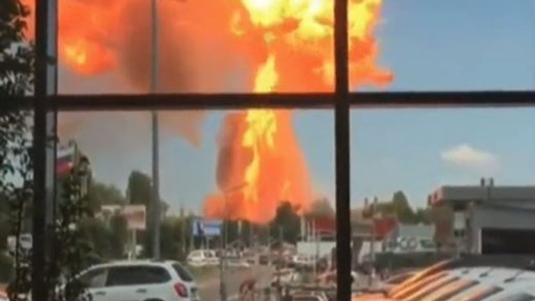 Gas explosion in Russia sends fireball skyward