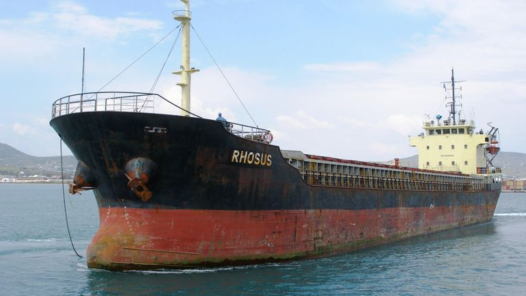 An image shows the ship that was reportedly carrying the cargo before it was dropped off in Lebanon