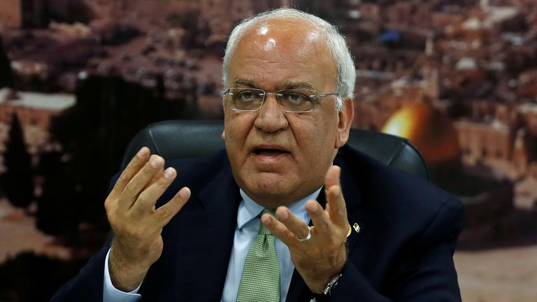 Dr Saeb Erekat is the general secretary of the PLO and the Palestinian's chief negotiator