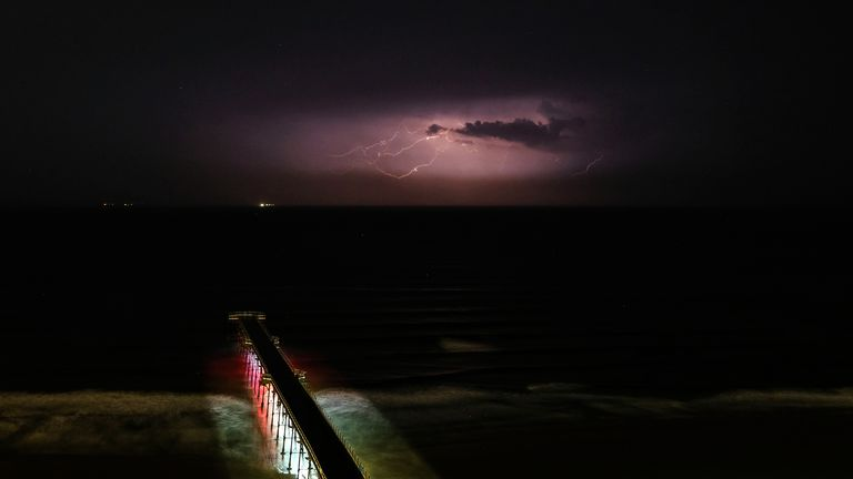 Lightning streaks across the sky over the North Sea as seen from the coastline at Saltburn on August 04, 2019 in Saltburn By The Sea, England