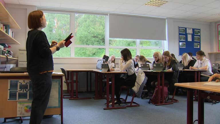 Pupils in a classroom at Springburn Academy in  Glasgow