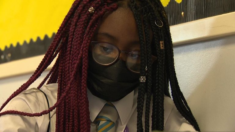 Pupil wearing mask in class at Springburn Academy in  Glasgow