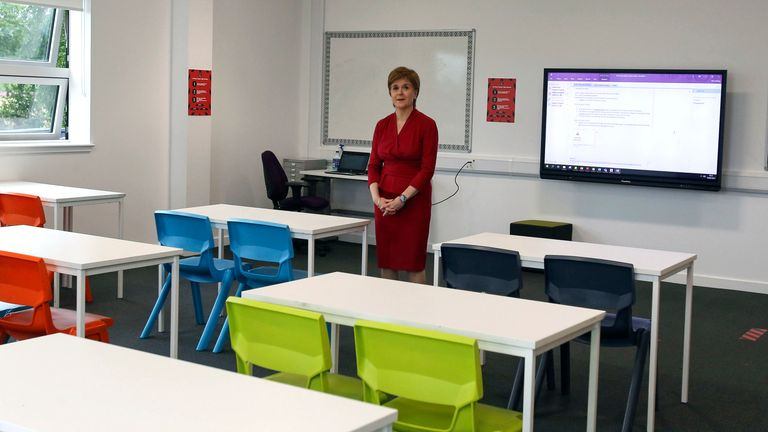 Scotland's first minister Nicola Sturgeon visited West Calder High School in West Lothian to see how staff were preparing to welcome students back