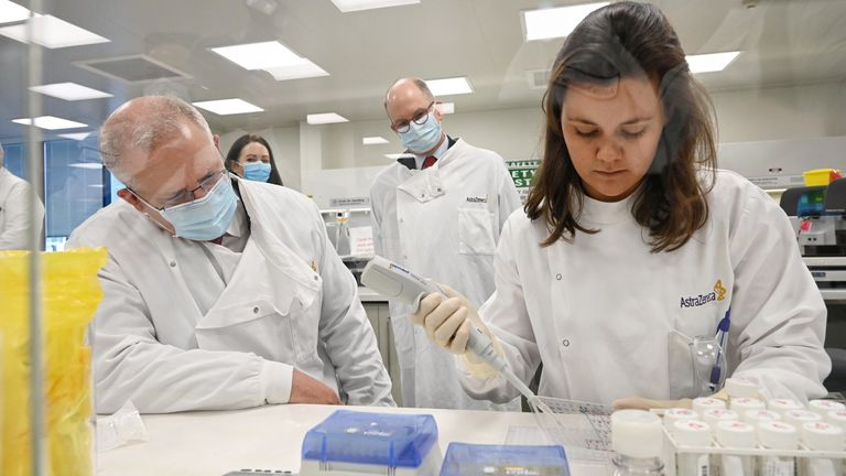 PM Scott Morrison toured the AstraZeneca laboratories in Macquarie Park, Northern Sydney