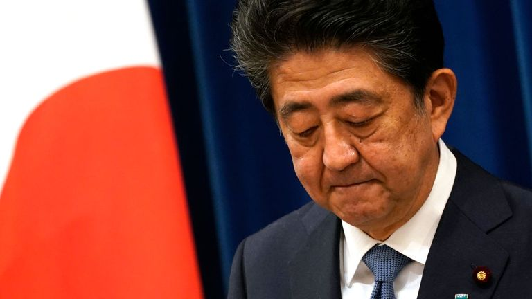 Japanese Prime Minister Shinzo Abe announces his resignation