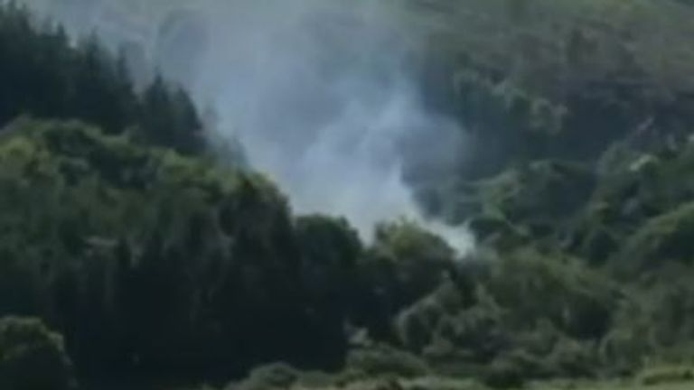 Smoke billows from site of Aberdeenshire train derailment
