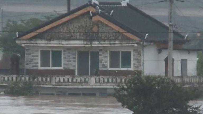 House is flooded in South Korea