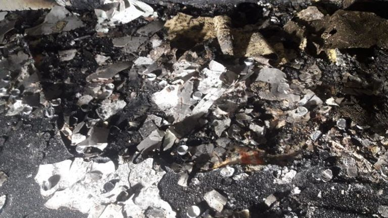 The remnants of the tea lights which caused the fire in Sheffield South Yorkshire Fire and Rescue