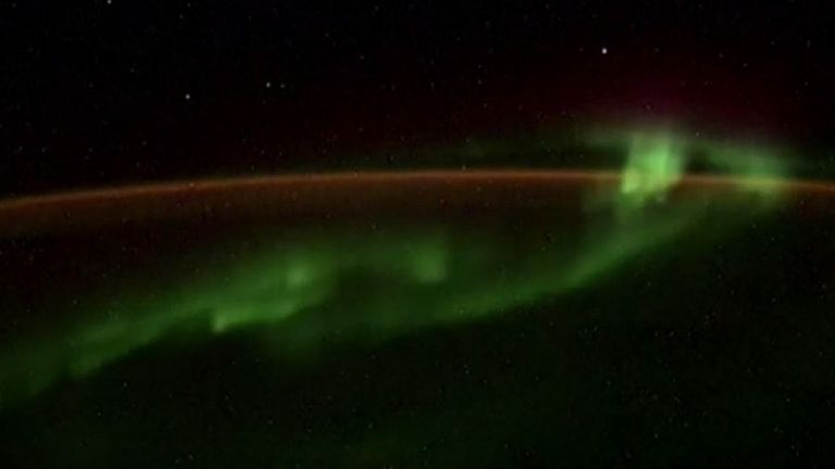 Southern lights from the ISS