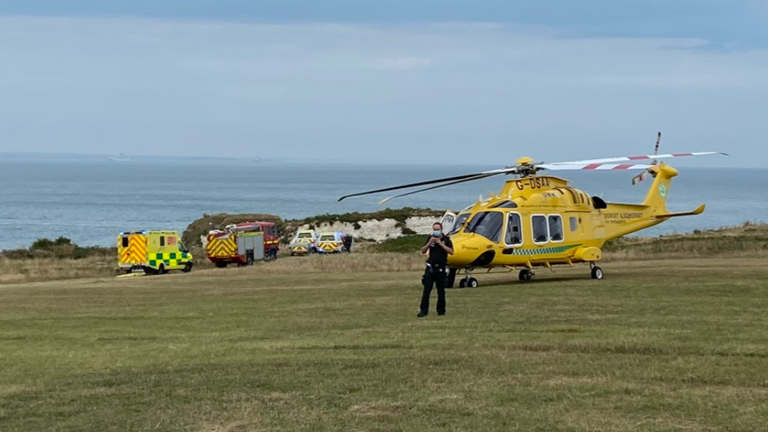 An air ambulance was needed to rescue the woman. Pic: Swanage Fire Station