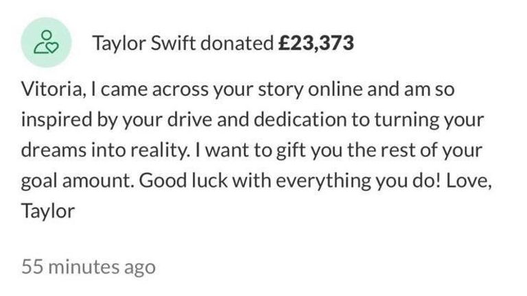 Taylor Swift donated £23,373 to Vitoria Mario's GoFundMe page