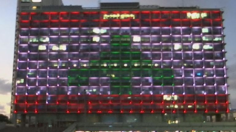 Lebanese flag projected on to Tel Aviv city hall