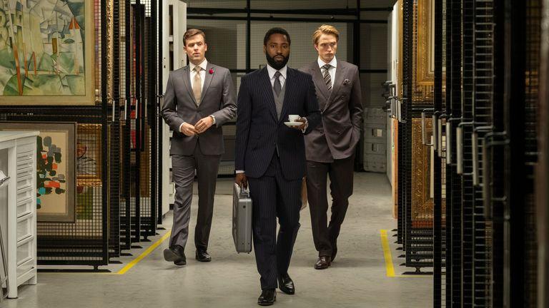 (L-R) Jack Cutmore-Scott, John David Washington and Robert Pattinson in Tenet. Pic: Melinda Sue Gordon