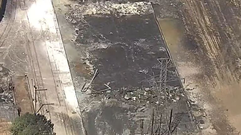 What a Texas warehouse fire looks like a day on