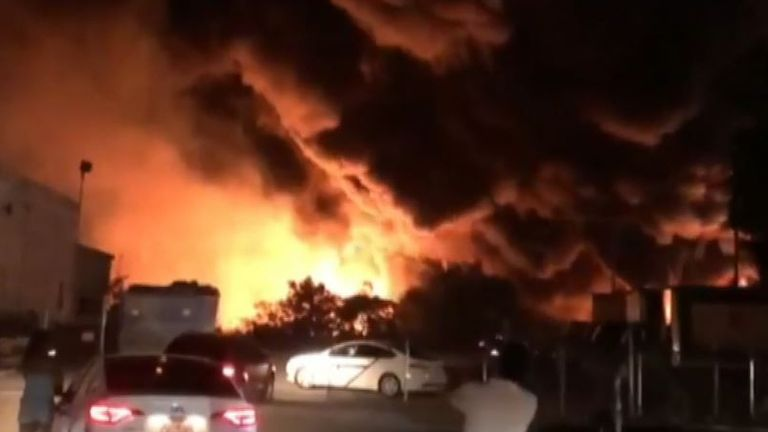 Texas warehouse is a raging inferno