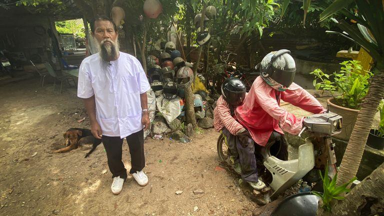 Helmets in Sompong Chanraksa's garden