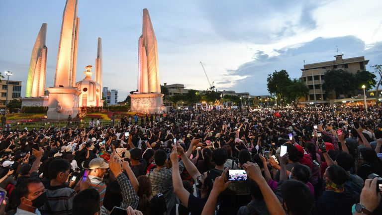 Anti-government protesters take part in a rally by the Democracy Monument in Bangkok on August 16, 2020. - Protesters gathered for a rally in Bangkok on August 16 against the government as tensions rose in the kingdom after the arrest of three activists leading the pro-democracy movement. (Photo by Mladen ANTONOV / AFP) (Photo by MLADEN ANTONOV/AFP via Getty Images)