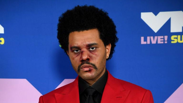The Weeknd was made up to appear bruised and blooded