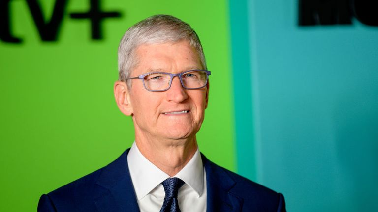 "NEW YORK, NEW YORK - OCTOBER 28: Apple CEO Tim Cook attends Apple TV+'s ""The Morning Show"" world premiere at David Geffen Hall on October 28, 2019 in New York City. (Photo by Roy Rochlin/WireImage)"