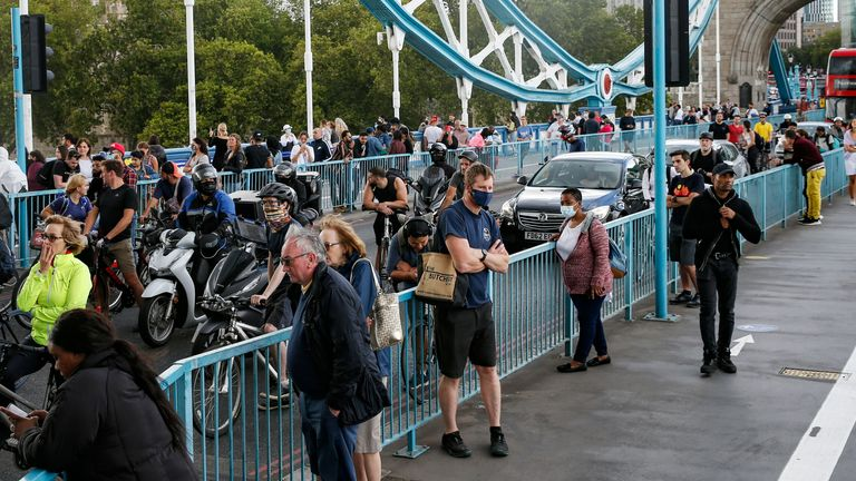 Pedestrians, cyclists and traffic stuck on Tower Bridge, which was closed for around an hour due a mechanical fault