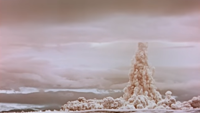 A still from the declassified footage shows the hydrogen bomb's enormous power. Pic: Rosatom