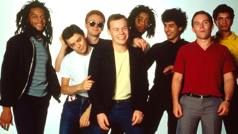 UB40, studio group portrait, UK, 1983, L-R Astro (Terence Wilson), Norman Hassan, Brian Travers, Ali Campbell, Earl Falconer, Jimmy Brown, Robin Campbell, Mickey Virtue