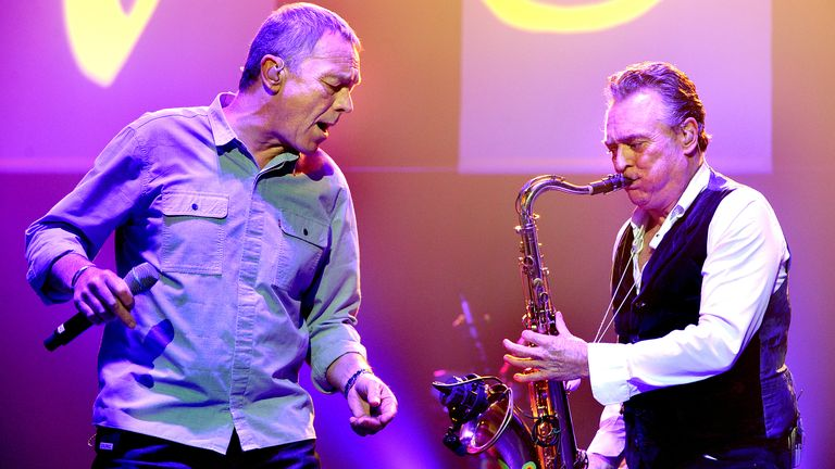 Duncan Campbell and Brian Travers of UB40 perform live on stage at O2 Apollo Manchester on December 17, 2017 in Manchester, England