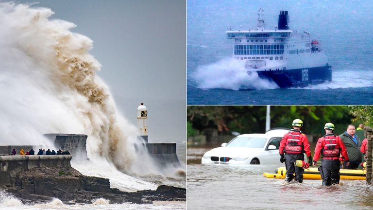 Waves crash against the harbour wall in Prthcawl, a ferry arrives at the Port of Dover, emergency services in Newcastle. Pics: Getty/PA/Press Eye Ltd/Shutterstock