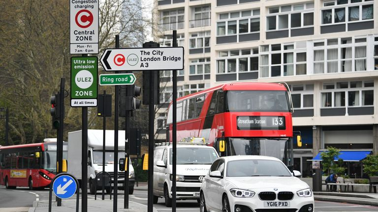 New signs for the ultra-low emission zone (Ulez) are pictured in central London