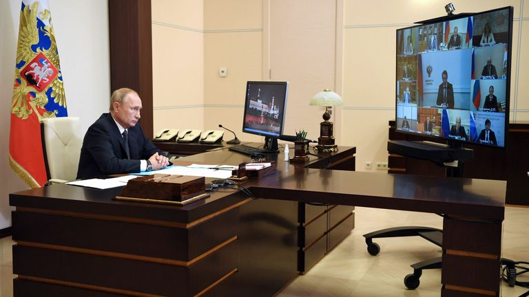 Russian President Vladimir Putin chaired a meeting with members of the government on Tuesday
