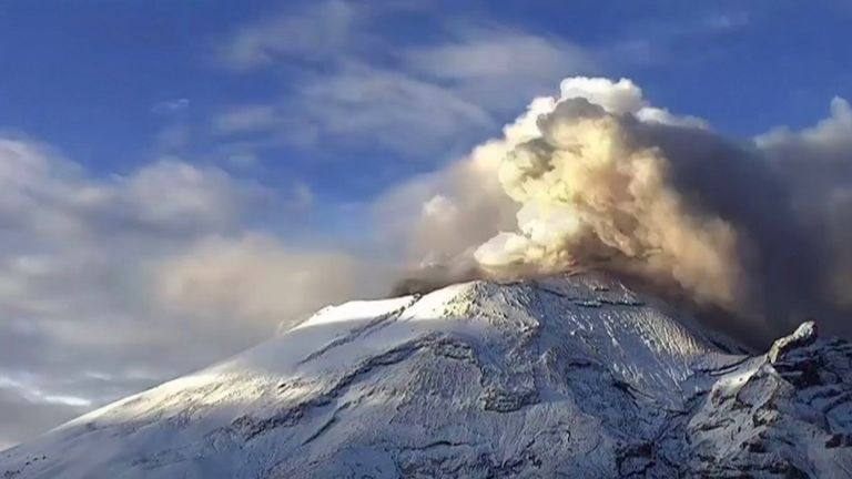 Mexico's majestic Popocatepetl volcano rumbled to life, spewing smoke and ash columns some 600 meters