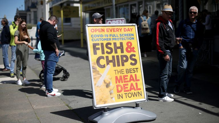 sign of a restaurant is seen on the first weekend of Llandudno Pier being reopened as restrictions are eased following the coronavirus disease (COVID-19) outbreak in Llandudno, Wales, Britain July 11, 2020. REUTERS/Carl Recine