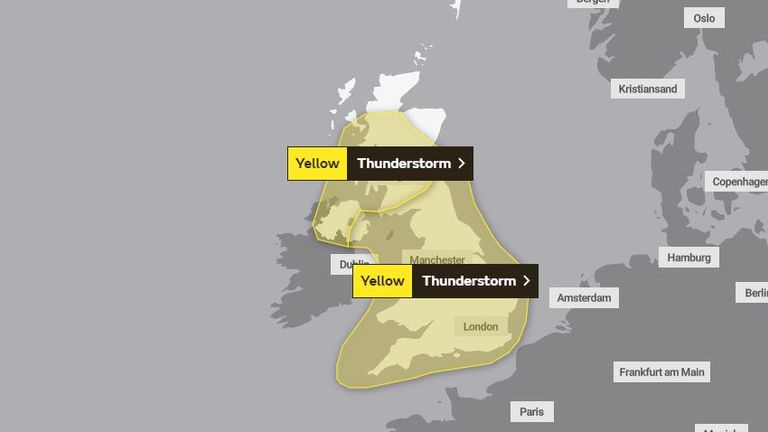 There is a yellow weather warning for Monday. Pic: Met Office