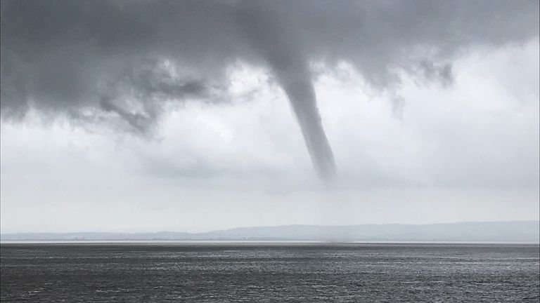 A waterspout was captured swirling over the Bristol Channel on Sunday. Pic: Twitter / @RadarRuss