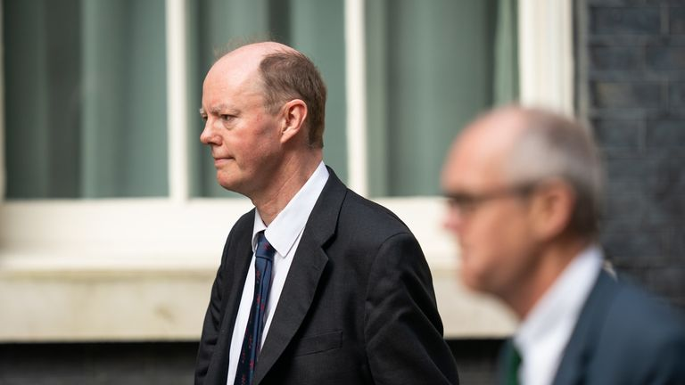 Chief Medical Officer Professor Chris Whitty (left) and Chief Scientific Adviser Sir Patrick Vallance arrive at Downing Street, London, as Prime Minister Boris Johnson remains in hospital following his admission on Sunday with continuing coronavirus symptoms