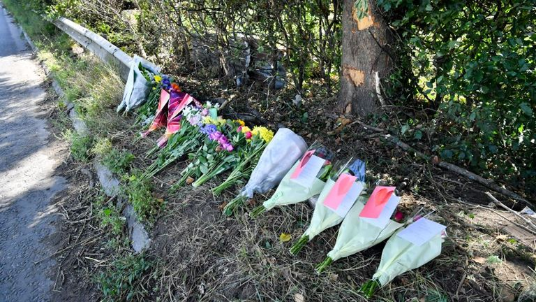 Flowers have been laid at the scene of the crash in Wiltshire