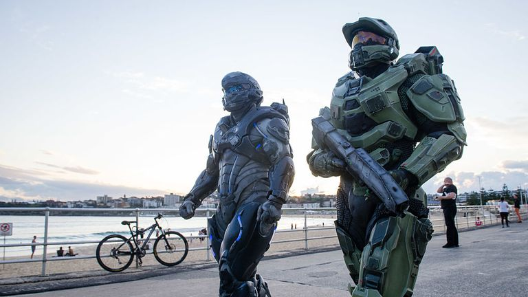 Characters from the highly-anticipated videogame Halo 5: Guardians appeared on Bondi Beach and in the City on October 15, 2015 in Sydney, Australia.
