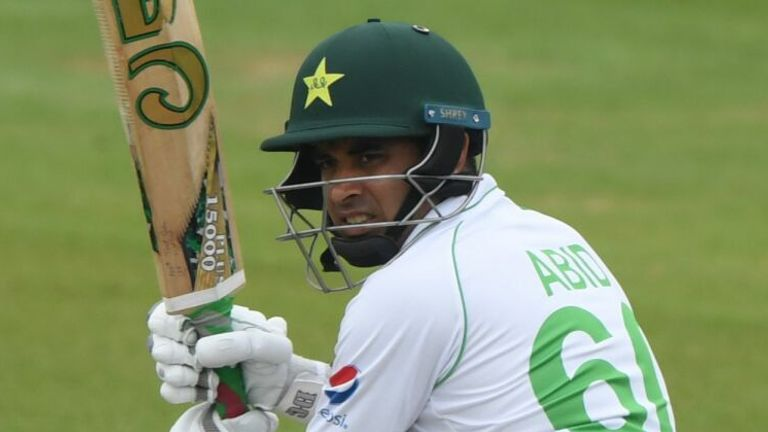 Pakistan's Abid Ali plays a shot on the first day of the second Test cricket match between England and Pakistan at the Ageas Bowl in Southampton, southwest England on August 13, 2020.