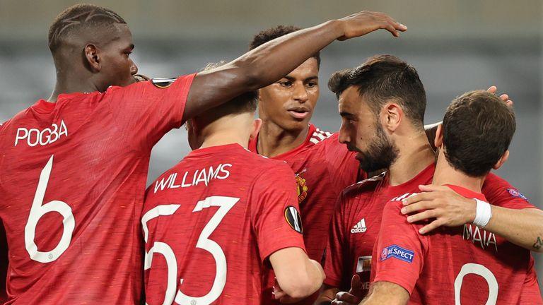 Bruno Fernandes celebrates after scoring for Manchester United