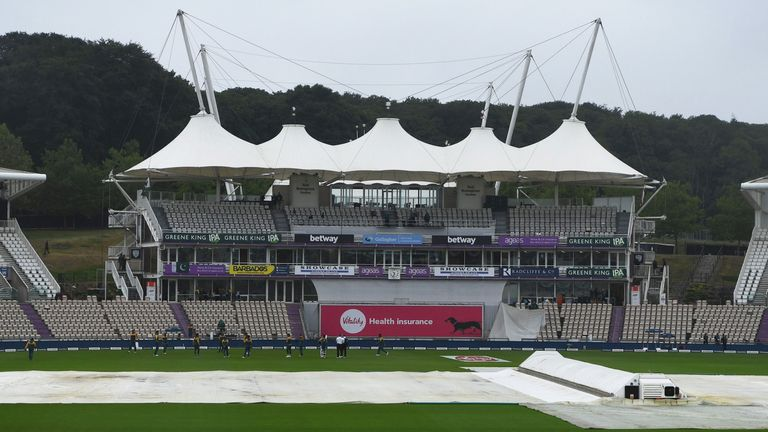 The covers were on at the Ageas Bowl as play in the second Test between England and Pakistan was delayed on day three