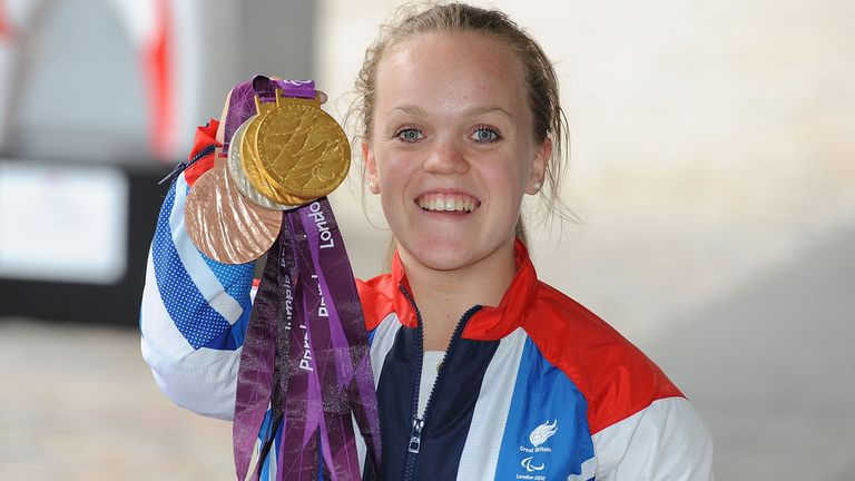 British swimmer Ellie Simmonds poses during the reception for Team GB and Paralympic GB athletes on September 10, 2012 in London, England.
